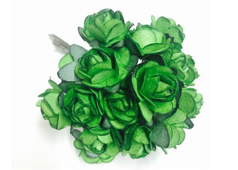 "0.75"" Mini Mulberry Paper Flower Apple Green(120 Flowers)"