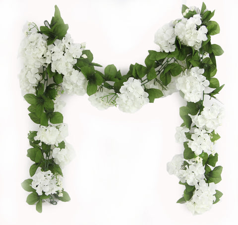 Artificial Hydrangea Flower Garland 6' White