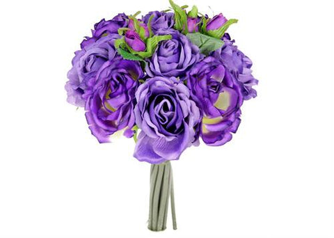 Rose Silk Flower Bouquet Lavender and Purple Mix