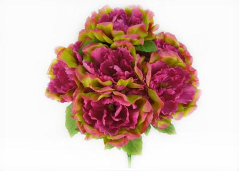 Large Peony Silk Flower Bush Magenta Mix 7 Heads