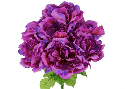 Large Peony Silk Flower Bush Lilac 7 Heads