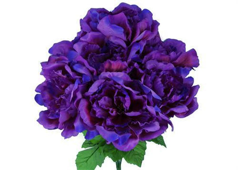 Large Peony Silk Flower Bush Purple 7 Heads