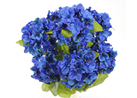 22 Inch X-Large Satin Artificial Hydrangea Silk Flower Bush 7 Heads Royal Blue