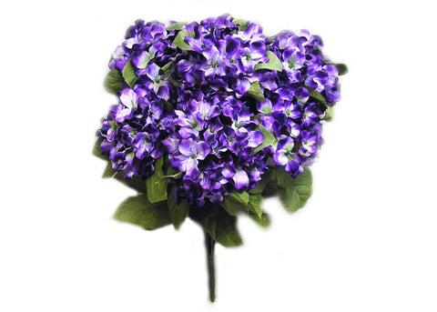 22 Inch X-Large Satin Artificial Hydrangea Silk Flower Bush 7 HeadsPurple Lavender