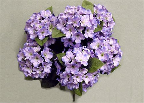 Satin Hydrangea Silk Flower Bush 7 Heads Lavender