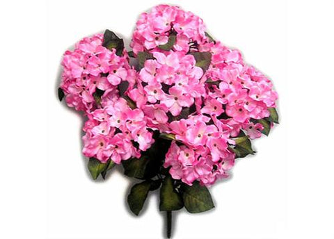 Satin Hydrangea Silk Flower Bush 7 Heads Pink