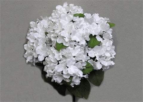 Satin Hydrangea Silk Flower Bush 7 Heads White