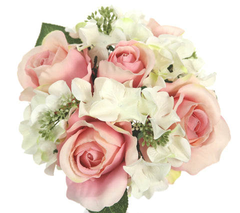 Rose & Hydrangea Silk Flower Wedding Bouquet Cream Pink