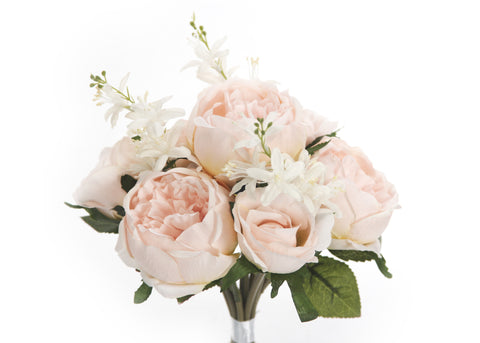 English Rose Silk Flower Bouquet Blush