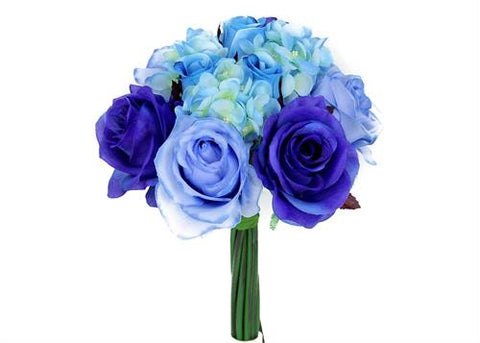 Rose & Hydrangea Silk Flower Wedding Bouquet Blue Mix