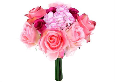 Rose & Hydrangea Silk Flower Wedding Bouquet Pink & Beauty