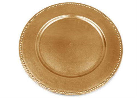 "13"" Gold Beaded Charger Plate (12 Pieces)"