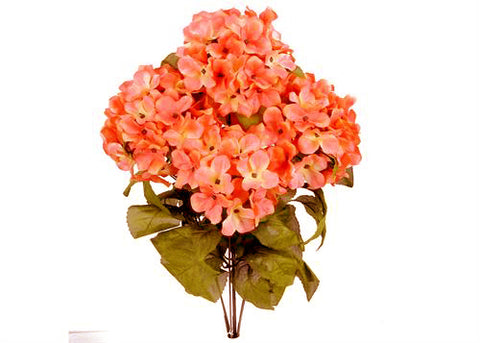 Satin Hydrangea Silk Flower Bush 7 Heads Coral