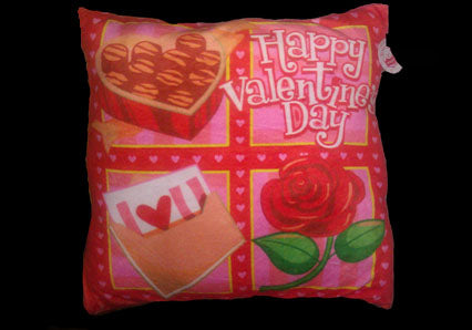 "15"" Square Happy Valentines Day Pillow(12 Pieces)"