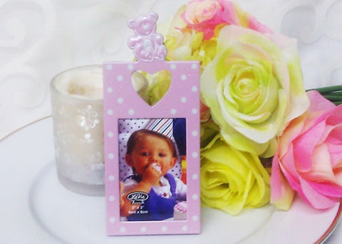 Baby Shower Polka Dots White and Pink Picture Frame (48 Pieces)