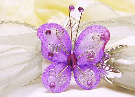 Rhinestone Organza Decorative Butterflies Lavender (50 Pieces)
