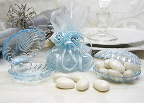 Clear Blue Clam Shell Favor - 12 Pieces