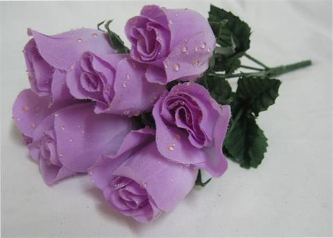 7 Heads Lavender Artificial Closed Rose Bush (12 Bushes)