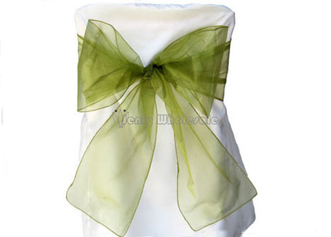 9 x 10 Ft Organza Chair Bows/Sashes Sage (12 pieces)