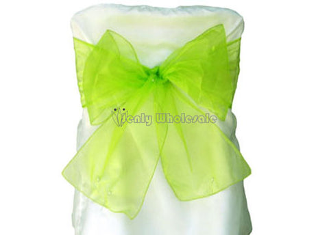9 x 10 Ft Organza Chair Bows/Sashes Apple Green (12 pieces)