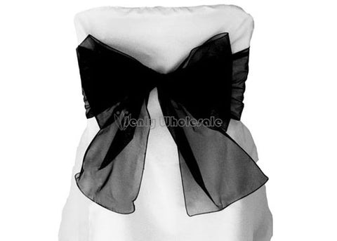 9 x 10 Ft Organza Chair Bows/Sashes Black (12 pieces)