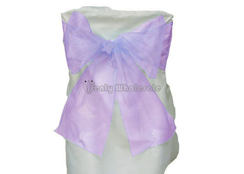 9 x 10 Ft Organza Chair Bows/Sashes Lavender (12 Pieces)