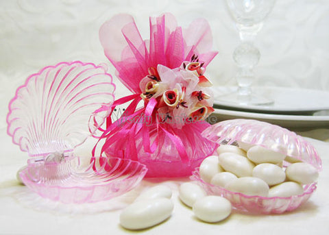 Clear Pink Clam Shell Favor - 12 Pieces