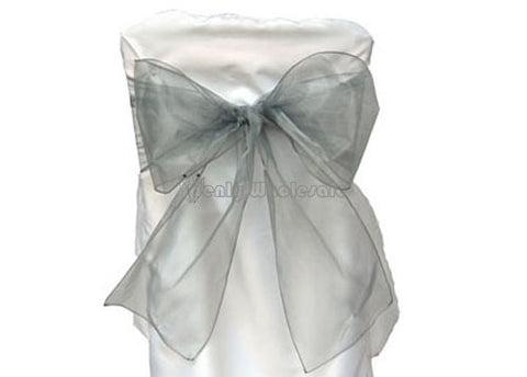9 x 10 Ft Organza Chair Bows/Sashes Silver (12 pieces)
