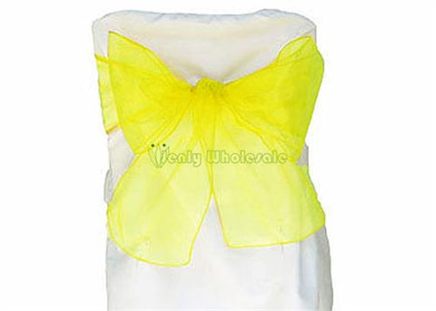 9 x 10 Ft Organza Chair Bows/Sashes Yellow (12 pieces)