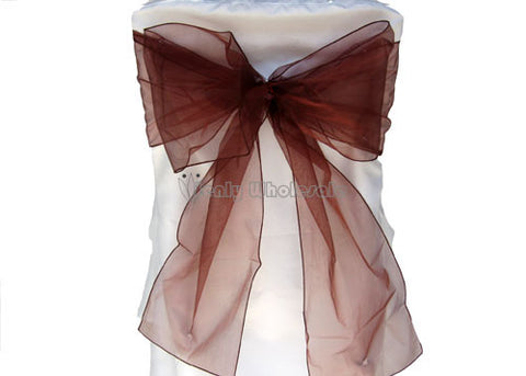 9 x 10 Ft Organza Chair Bows/Sashes Brown (12 pieces)