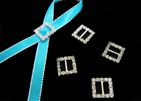 "5/8"" Square Shape Rhinestone Ribbon Buckles (12 Pieces)"