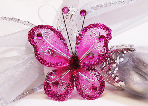Rhinestone Organza Decorative Butterflies Fuchsia (50 Pieces)