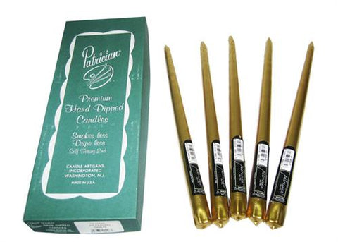 "12"" Metallic Gold Taper Candle (Box of 12 Pieces)"