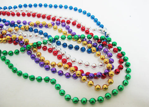 Mardi Gras Metallic Throw Beads Necklace Mix Colors (144 Pcs)
