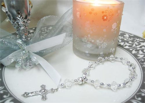 Crystal Rosary Clear/Silver (12 Pieces)