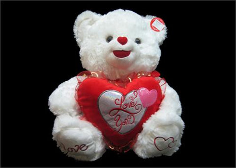"12"" White Valentines ""I LOVE YOU"" Singing Bear(12 Pieces)"