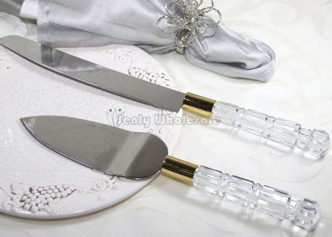 Acrylic Crystal Handle Cake Knife & Server Set Gold