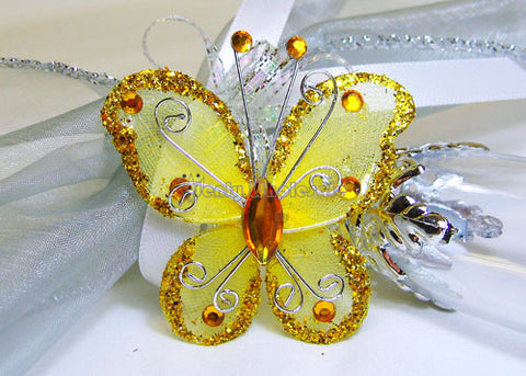 Rhinestone Organza Decorative Butterflies Gold (50 Pieces)