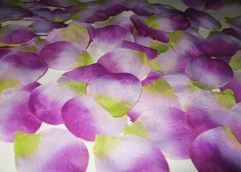 Silk Rose Petals Lavender and Green (1728PCS)