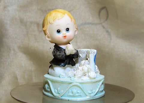 Poly Resin First Communion Praying Boy Figure (12 pieces)