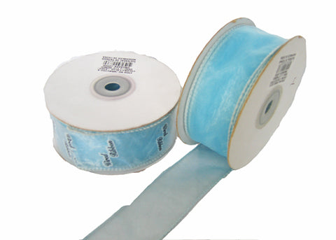 "1-1/2"" Organza Wired Ribbon Light Blue (10 Yards)"