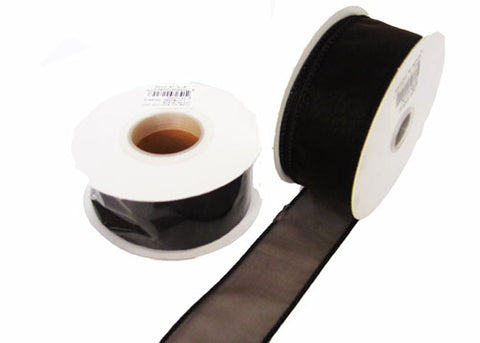 "1-1/2"" Organza Wired Ribbon Brown (10 Yards)"