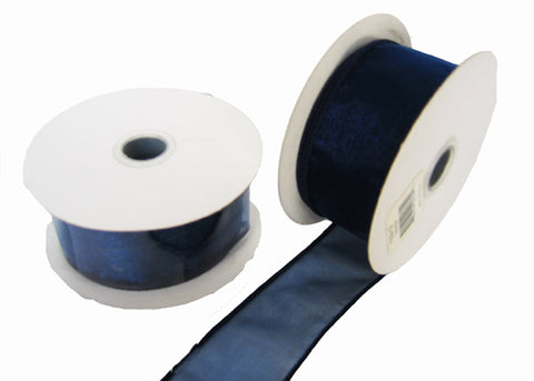 "1-1/2"" Organza Wired Ribbon Navy Blue (10 Yards)"