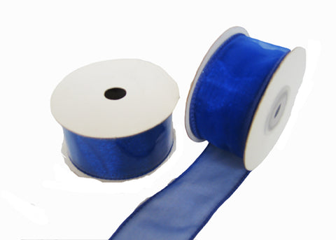"1-1/2"" Organza Wired Ribbon Royal Blue (10 Yards)"