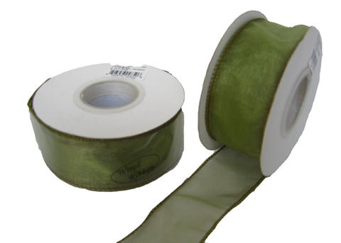 "1-1/2"" Organza Wired Ribbon Moss (10 Yards)"