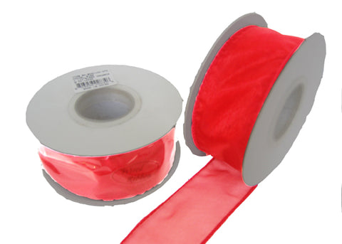 "1-1/2"" Organza Wired Ribbon Red (10 Yards)"