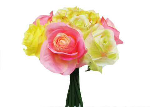 Rose Hydrangea Silk Flower Bouquet Pink and Yellow