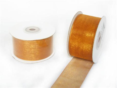 "1-1/2"" Sheer Organza Ribbon Gold 25 Yards"
