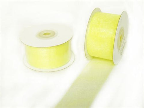 "1-1/2"" Sheer Organza Ribbon Baby Maize 25 Yards"