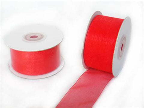 "1-1/2"" Sheer Organza Ribbon Coral 25 Yards"